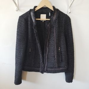 Rebecca Taylor tweed black metallic open blazer